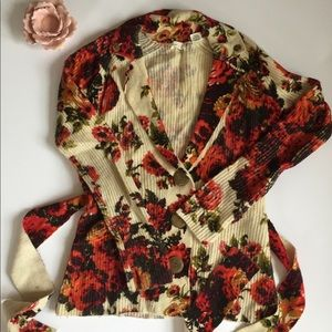 Anthropologie Sleeping On Snow Sweater Coat Floral